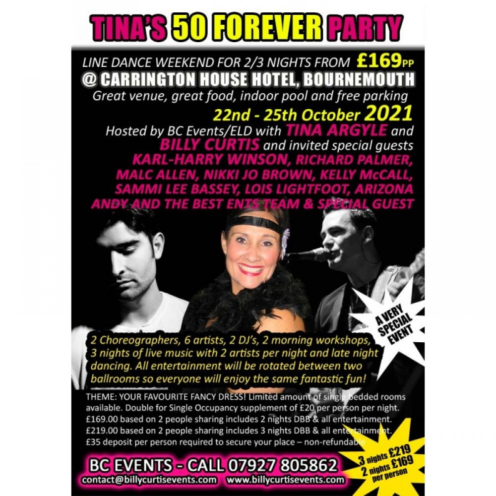 Tina's 50 FOREVER Party line dance weekend