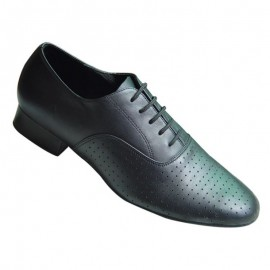Men's Black Perforated Lace Up Line Dance Shoes