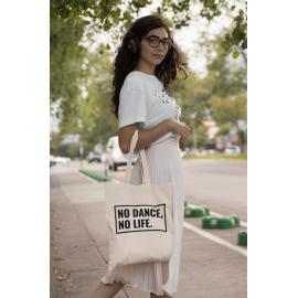Tote Bag 'No Dance, No Life' cotton line dance shopping bag (Black or Natural)