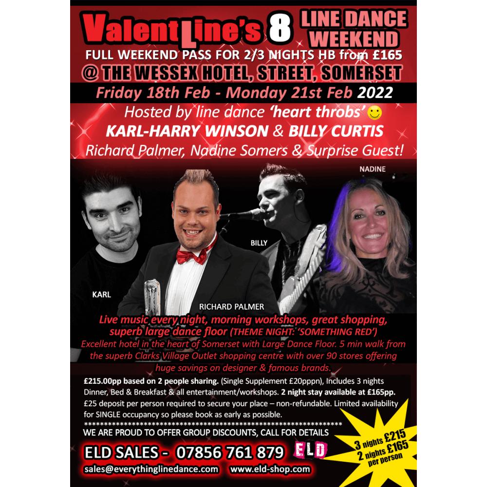 Valent-Lines 8 line dance weekend - Feb 2022